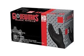 Gloveworks HD GWBN Black Nitrile Industrial Latex Free Disposable Gloves box