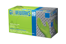 Gloveworks HD GWGN Green Nitrile Industrial Latex Free Disposable Gloves box