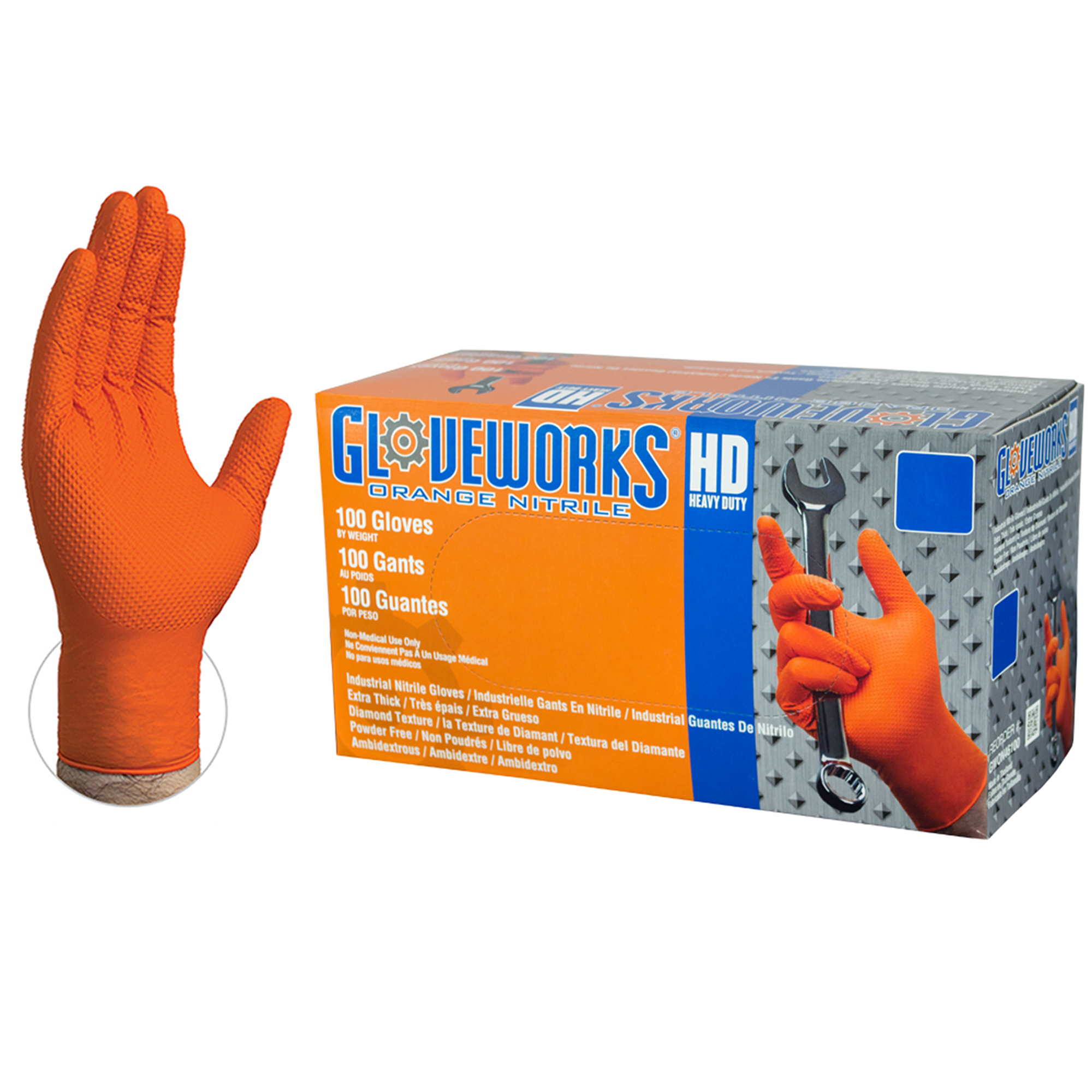 Gloveworks HD GWON Orange Nitrile Industrial Latex Free Disposable Gloves box and hand