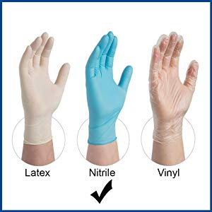 AMMEX X3 Blue Nitrile Exam Latex Free Disposable Gloves Comparison with Latex and Vinyl