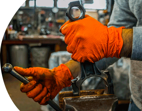 Gloveworks HD GWON Orange Nitrile Industrial Latex Free Disposable Gloves comparison with Latex and Vinyl IN-use Image Industrial