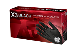 AMMEX BX3 Black Nitrile Industrial Latex Free Disposable Gloves box