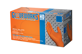 Gloveworks HD GWON Orange Nitrile Industrial Latex Free Disposable Gloves box