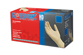 Gloveworks ILHD Ivory Latex Industrial Powder Free Disposable Gloves box image