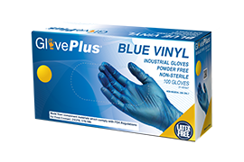 GlovePlus IVPF Blue Vinyl Industrial Latex Free Disposable Gloves box image