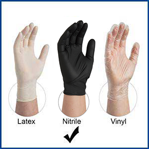Gloveplus GPNB Black Nitrile Industrial Disposable Gloves comparison with Latex and Vinyl chart