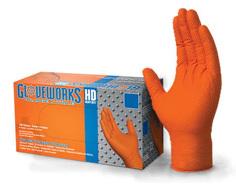 Gloveworks HD GWON Orange Nitrile Industrial Latex Free Disposable Gloves