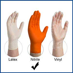Gloveworks HD GWON Orange Nitrile Industrial Latex Free Disposable Gloves comparison with Latex and Vinyl