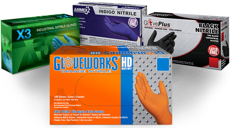 Gloveworks, Gloveplus, X3 and AMMEX gloves boxes