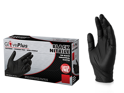 GlovePlus Black Nitrile Gloves box and glove image
