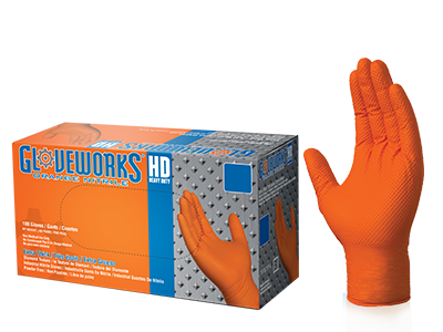 Gloveworks Orange Nitrile Gloves box and glove image