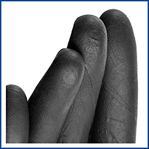 Gloveplus GPNB Black Nitrile Industrial Disposable Gloves Close-up detail