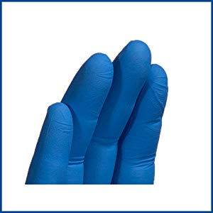 AMMEX X3 blue nitrile exam latex free disposable gloves close-up texture detail