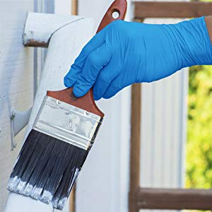 AMMEX X3 Blue Nitrile Exam Latex Free Disposable Gloves In-use Image Painting