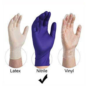 Ammex APFN Nitrile Disposable Gloves compared to Latex and Vinyl